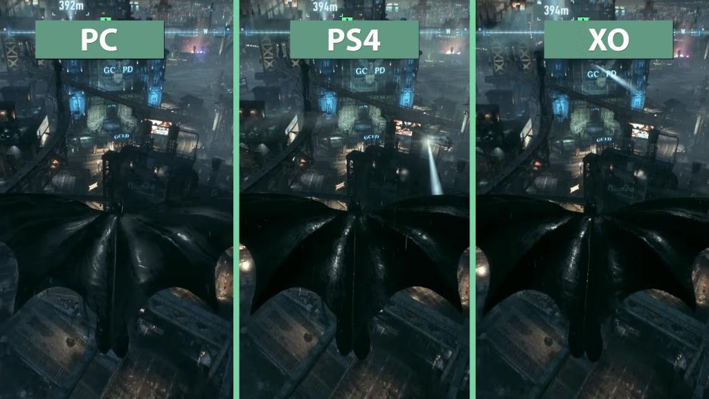 Porovnanie kvality grafiky na všetkých platformách. Na PC chýbajú odlesky vody.